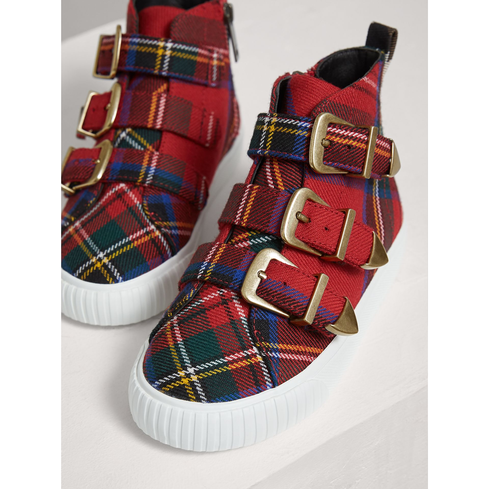 Buckle Detail Tartan Wool High-top Sneakers in Bright Red | Burberry - gallery image 3