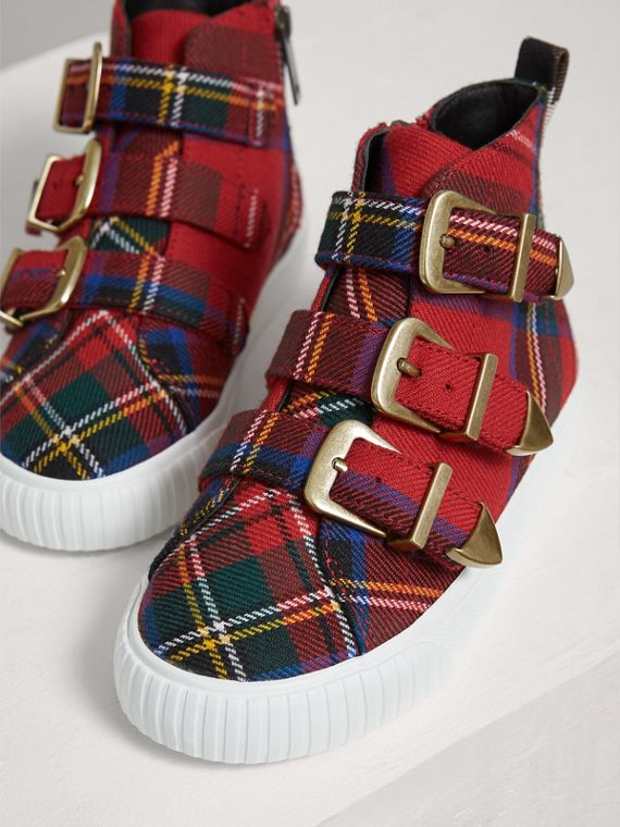 Buckle Detail Tartan Wool High-top Trainers in Bright Red | Burberry - cell image 3