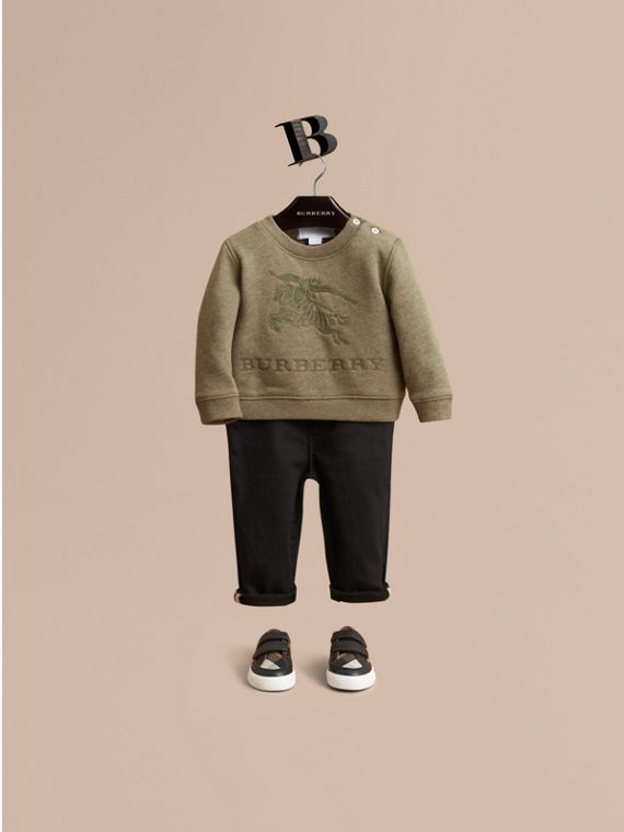 Embroidered Cotton Jersey Sweatshirt in Khaki Green Melange | Burberry Singapore
