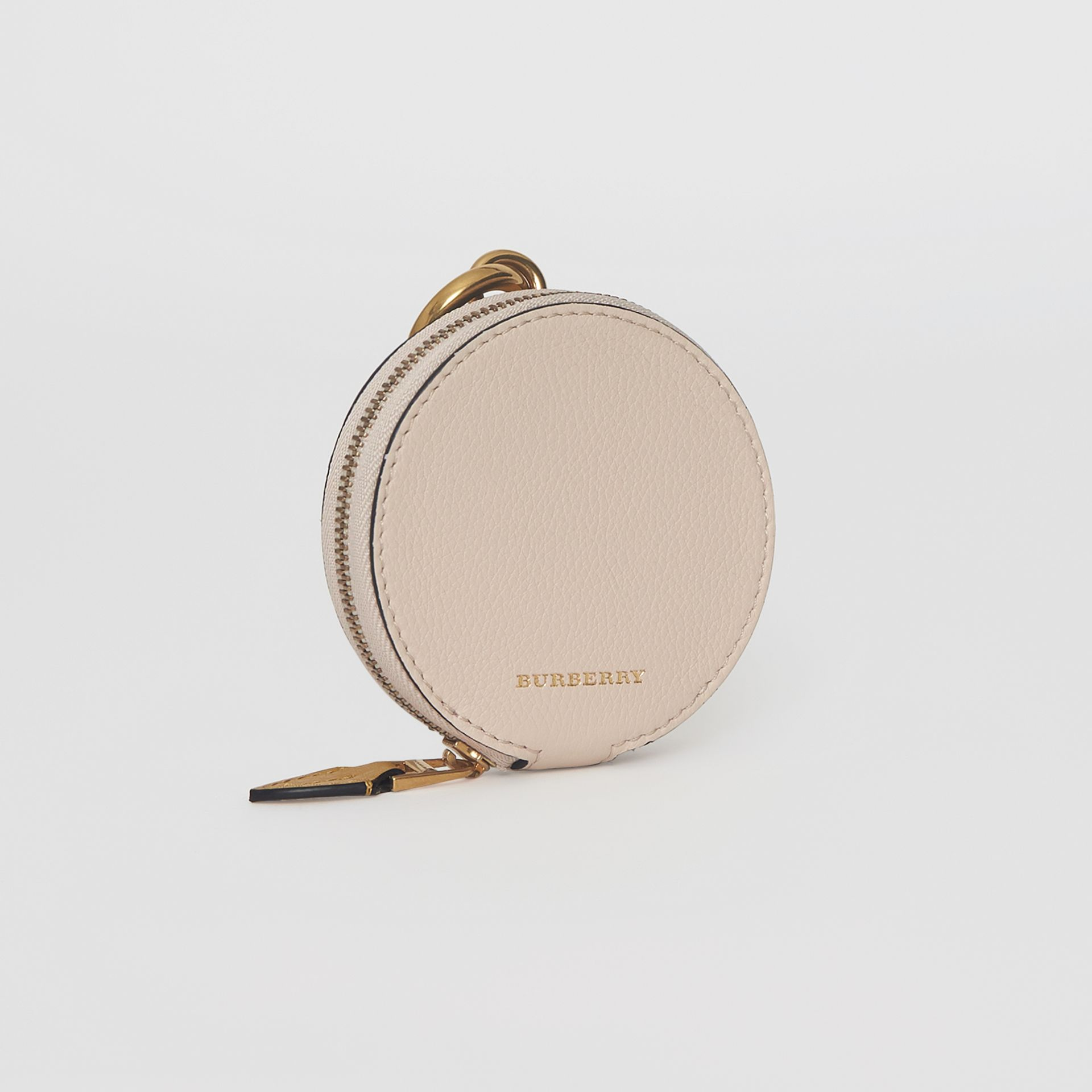 Small Round Leather Coin Case in Limestone/cornflower Yellow | Burberry - gallery image 4