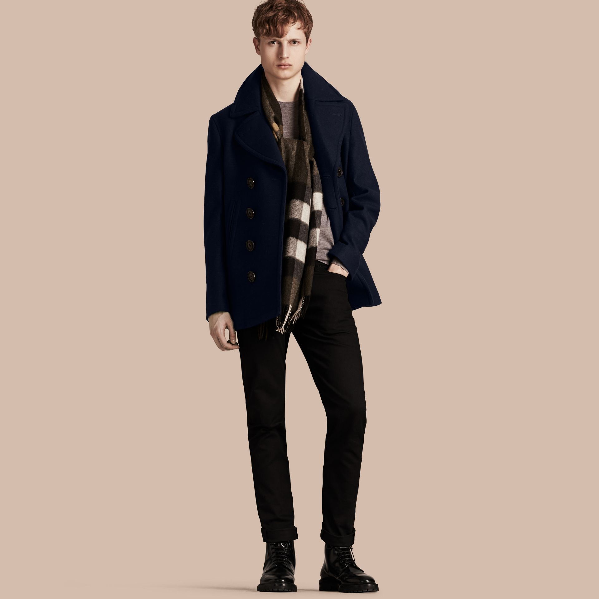 Wool Cashmere Pea Coat in Navy - gallery image 1