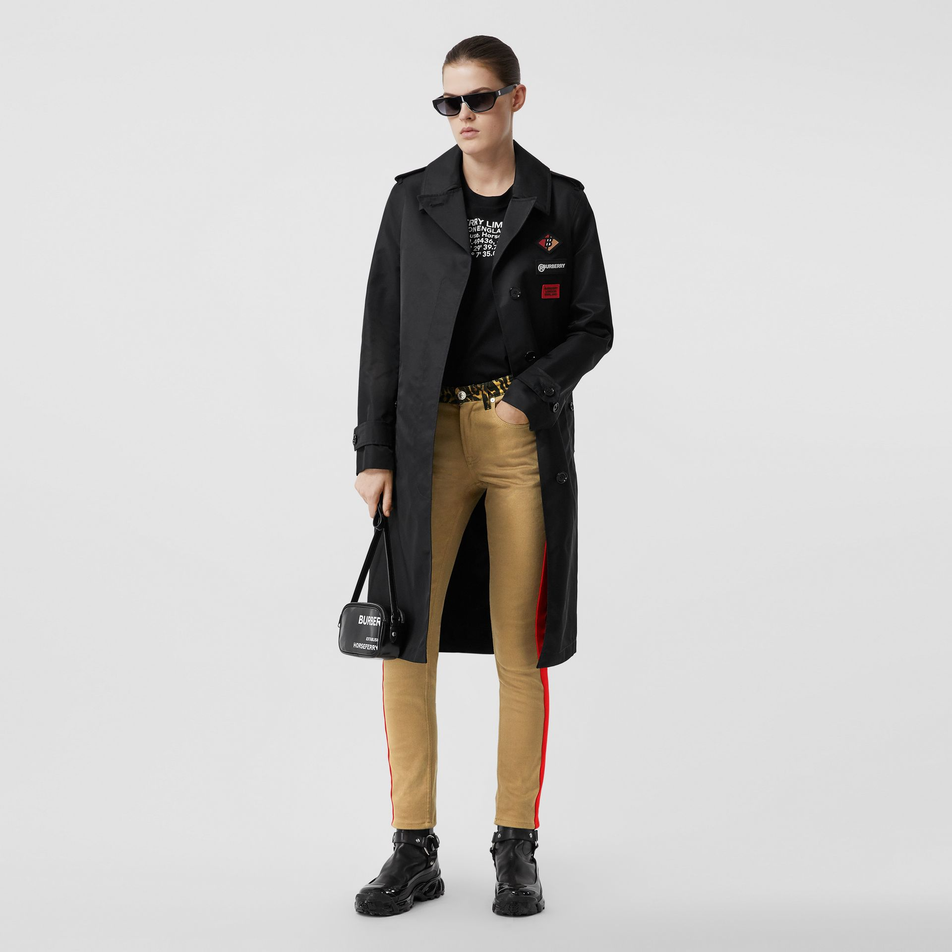 Skinny Fit Leopard Print Trim Japanese Denim Jeans in Rich Olive - Women | Burberry - gallery image 0
