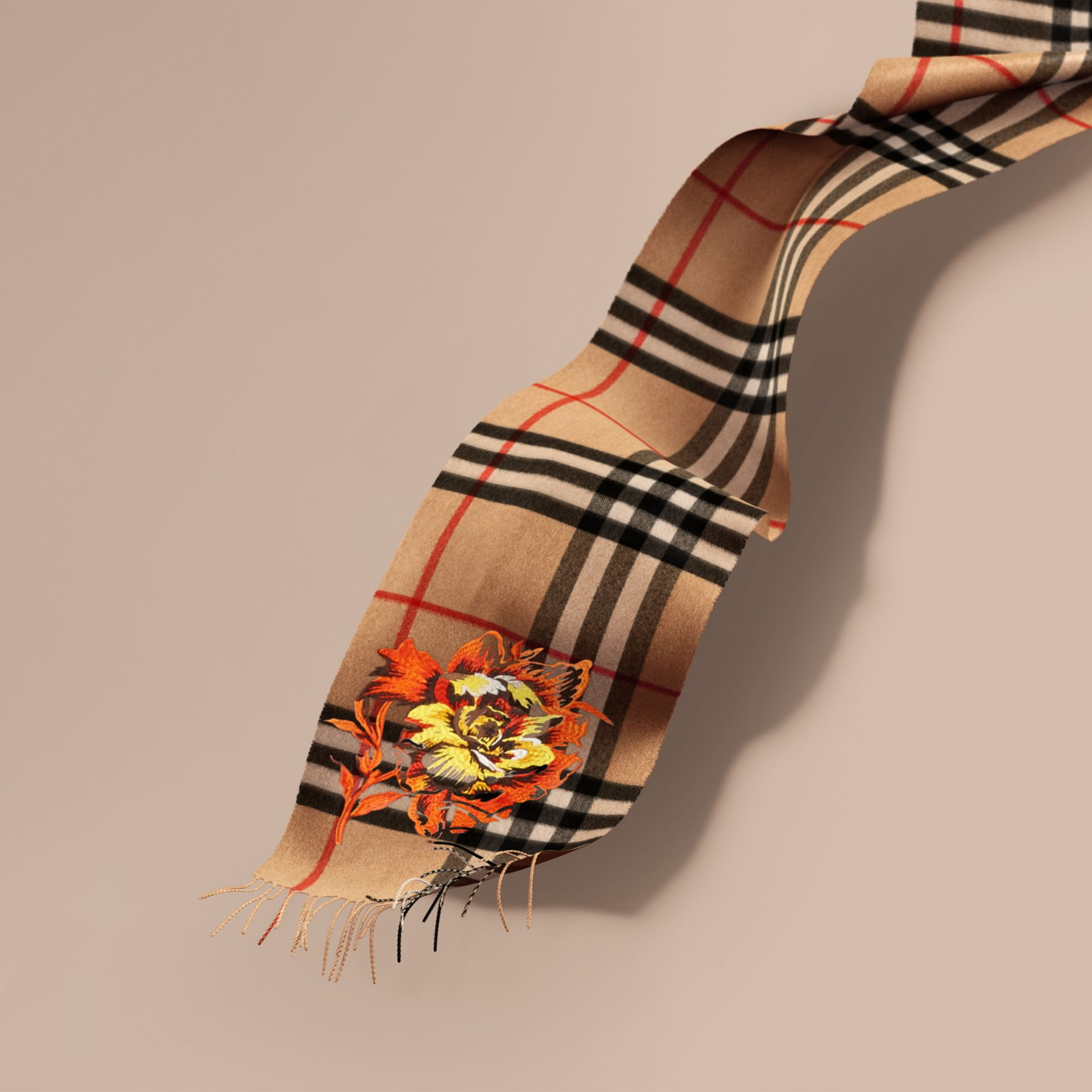 Camel/vibrant orange The Classic Cashmere Scarf with Embroidered Peony Rose - gallery image 1
