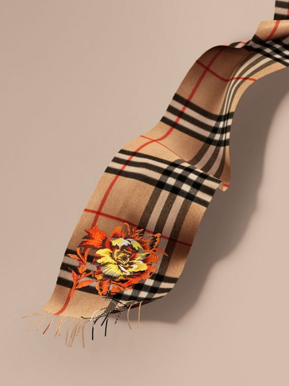The Classic Cashmere Scarf with Embroidered Peony Rose