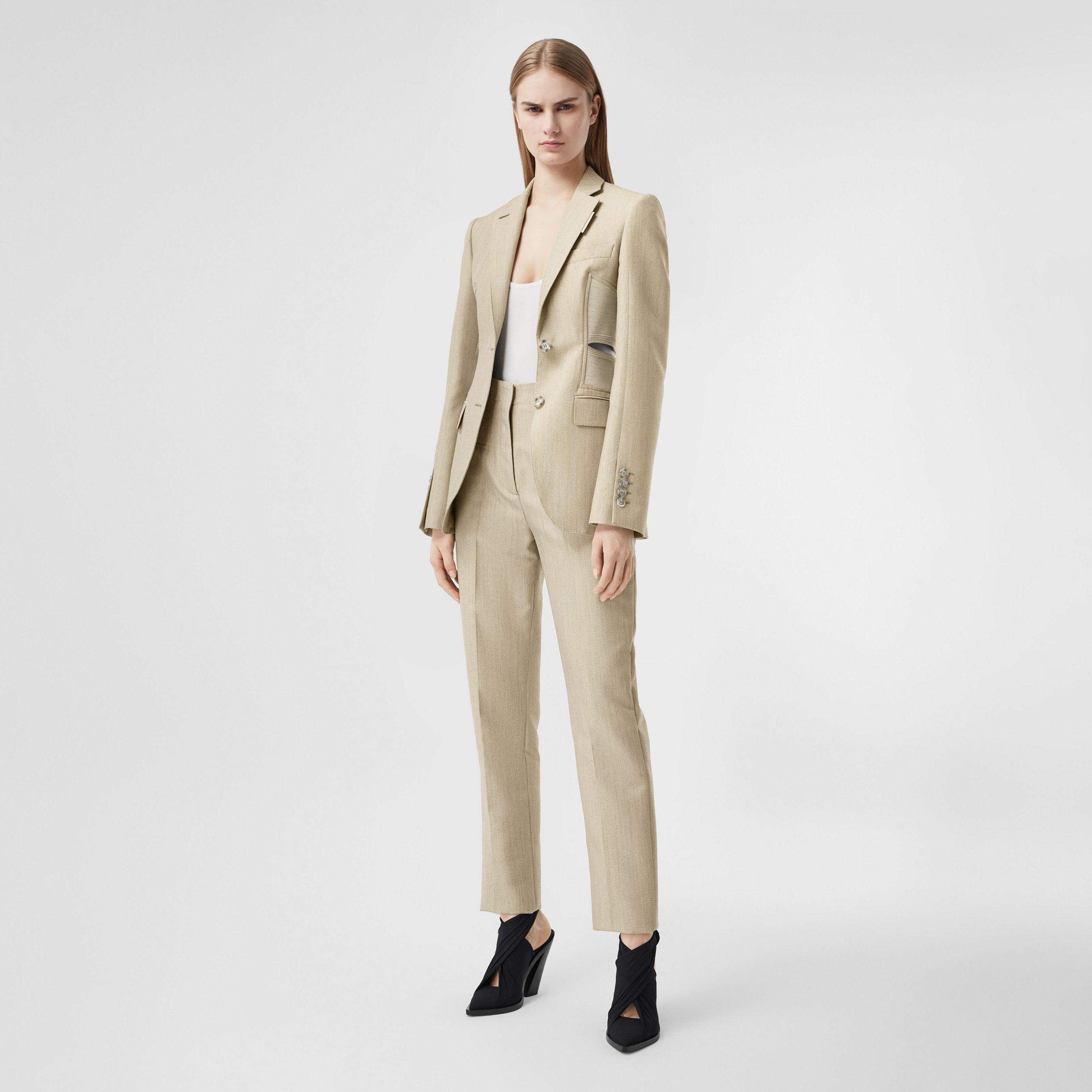 Cut-out Detail Technical Wool Blazer in Grey - Women | Burberry - 1