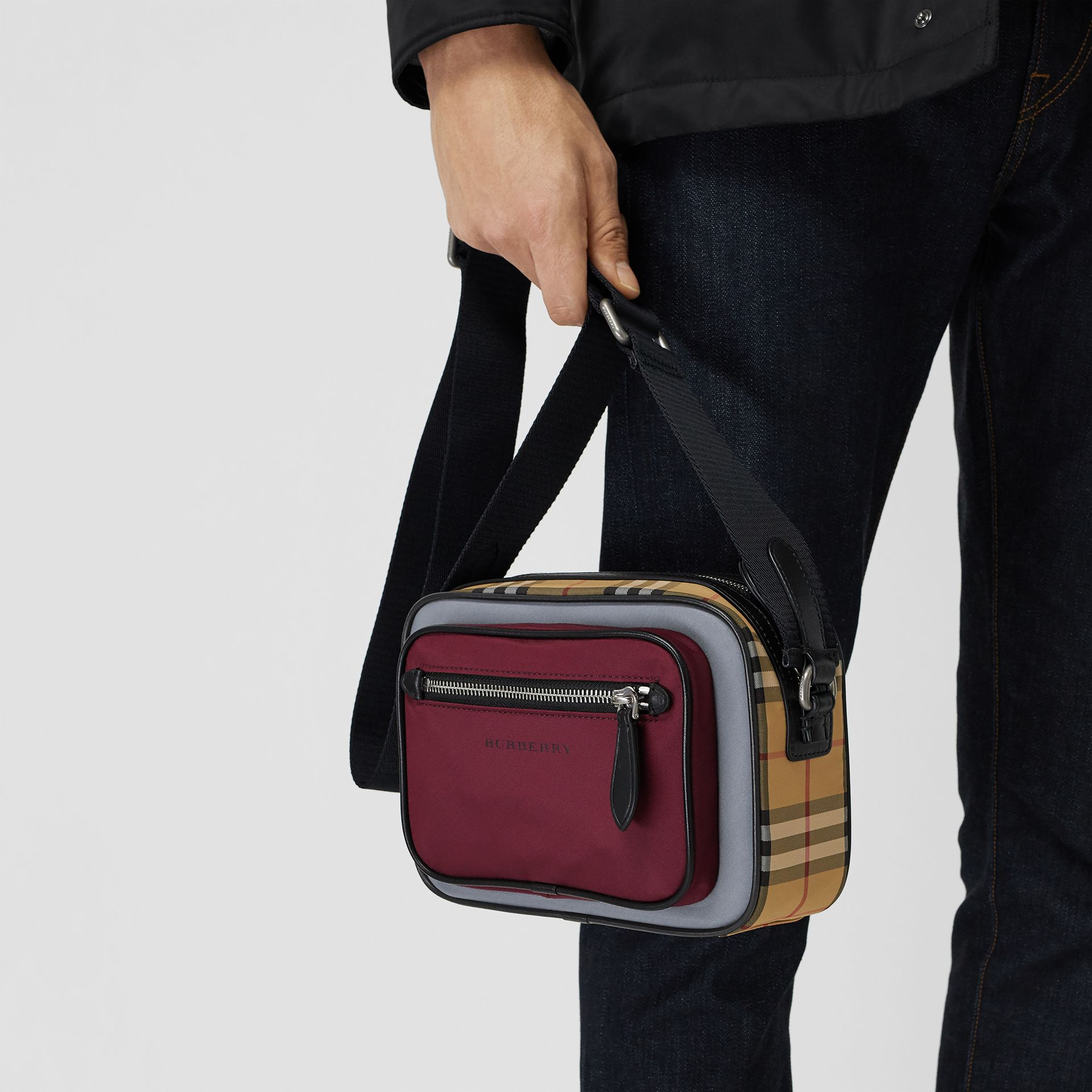Colour Block Vintage Check Crossbody Bag in Oxblood - Men | Burberry - gallery image 4