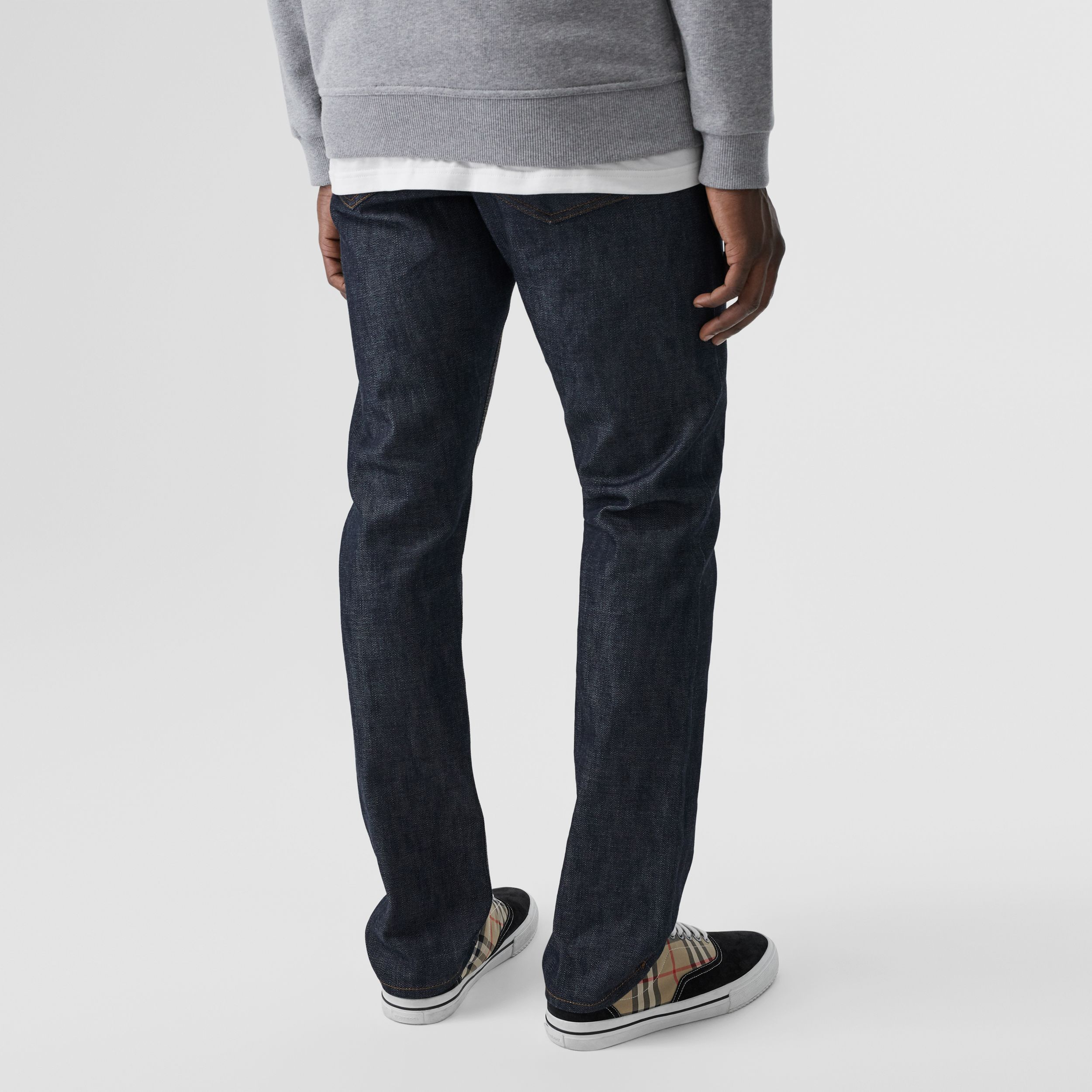 Straight Fit Japanese Selvedge Denim Jeans in Mid Indigo Blue | Burberry - 3