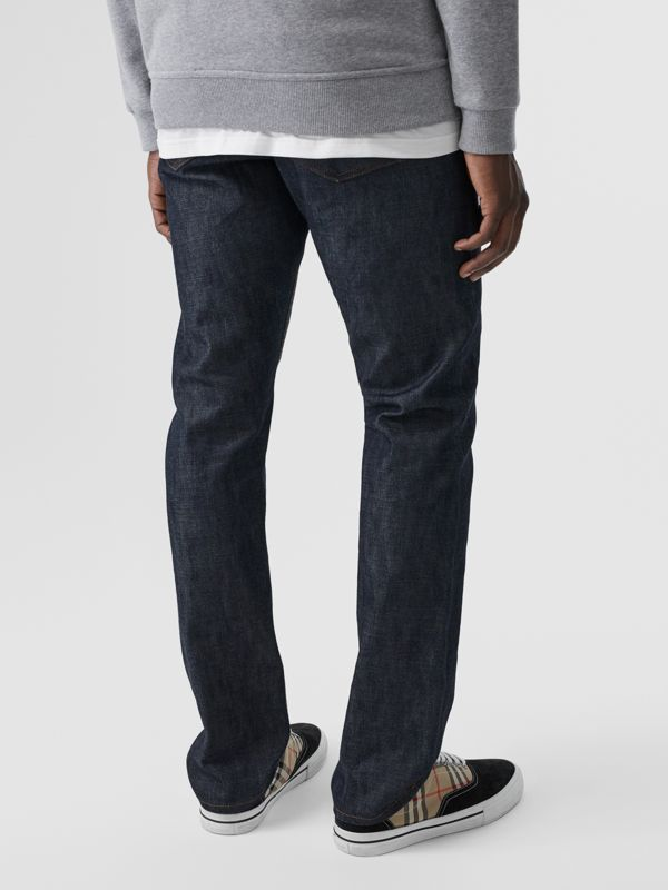 Straight Fit Japanese Selvedge Denim Jeans in Mid Indigo Blue - Men | Burberry United Kingdom - cell image 2