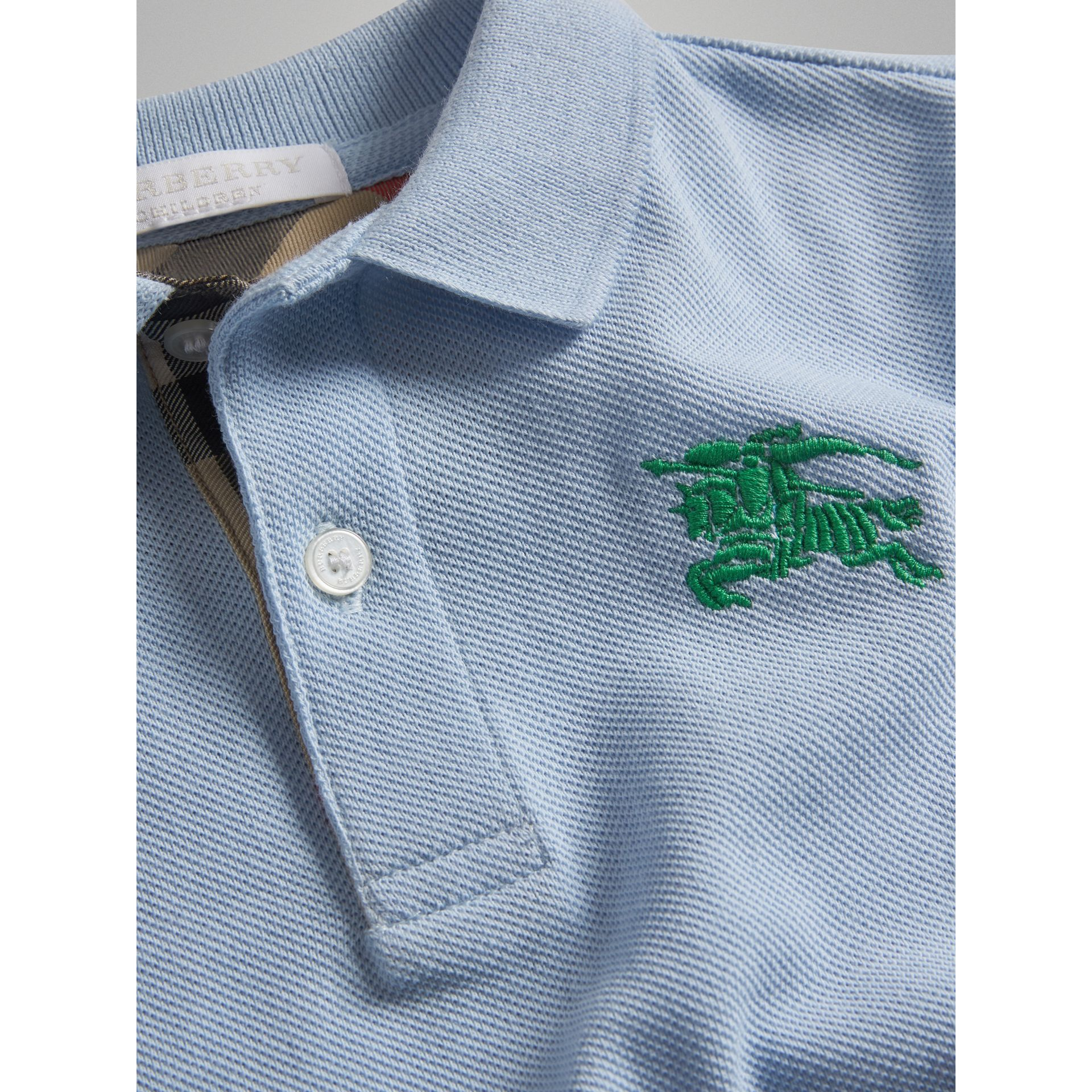 Check Placket Polo Shirt in Sky Blue - Boy | Burberry - gallery image 1