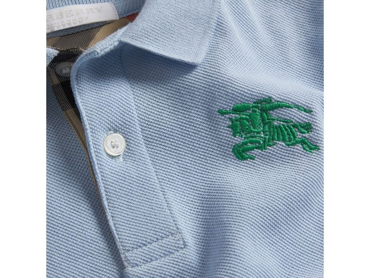 Check Placket Polo Shirt in Sky Blue - Boy | Burberry Australia - cell image 1