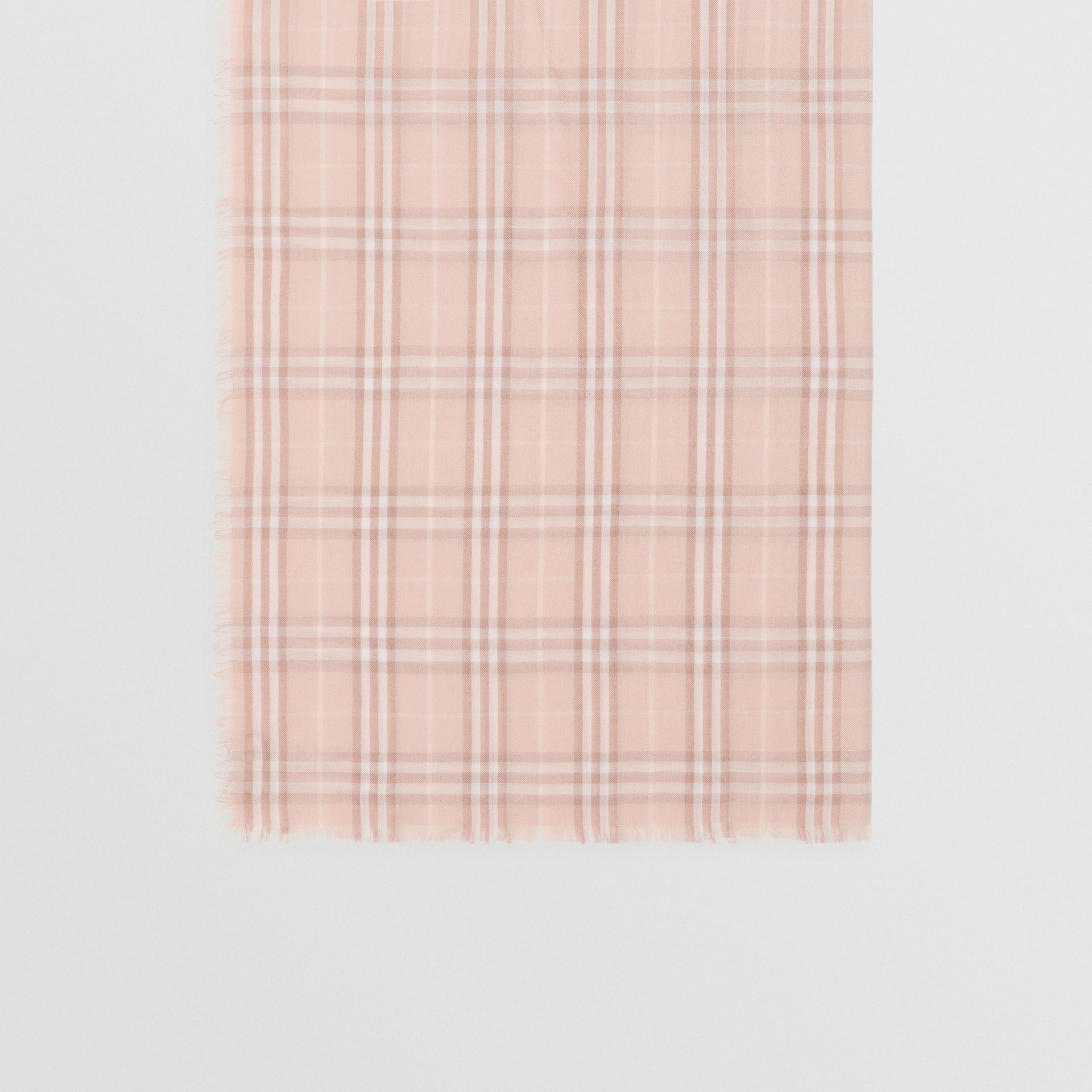 Embroidered Vintage Check Lightweight Cashmere Scarf in Soft Peach | Burberry - gallery image 2