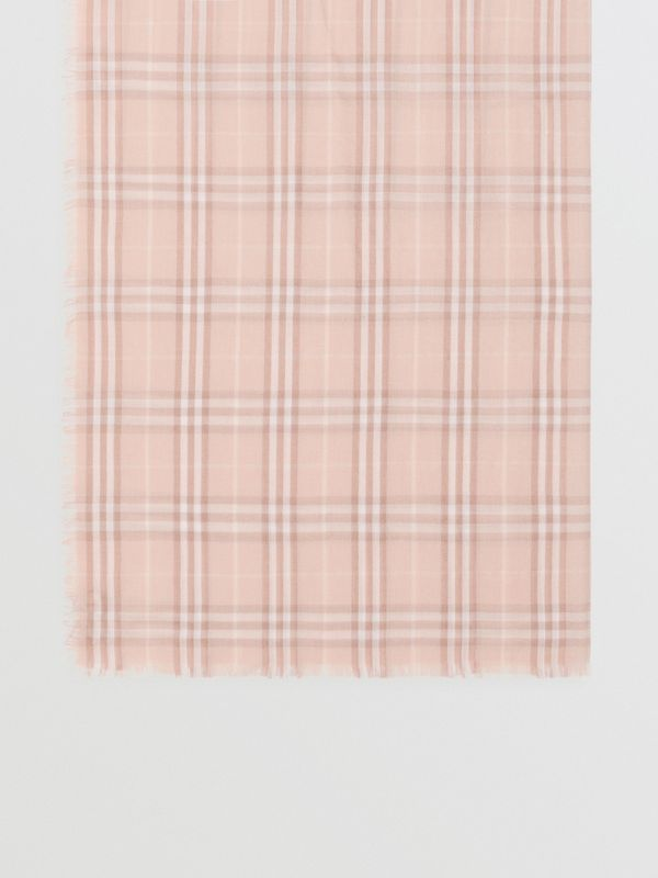 Embroidered Vintage Check Lightweight Cashmere Scarf in Soft Peach | Burberry Australia - cell image 2