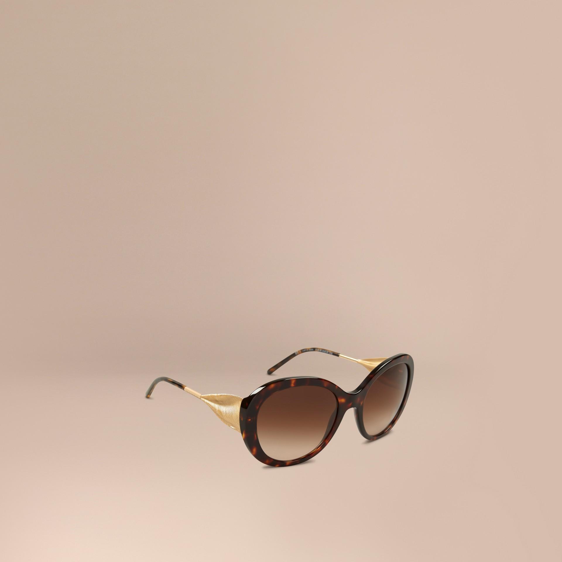 Ebano Occhiali da sole oversize con montatura tonda collezione Gabardine Ebano - immagine della galleria 1