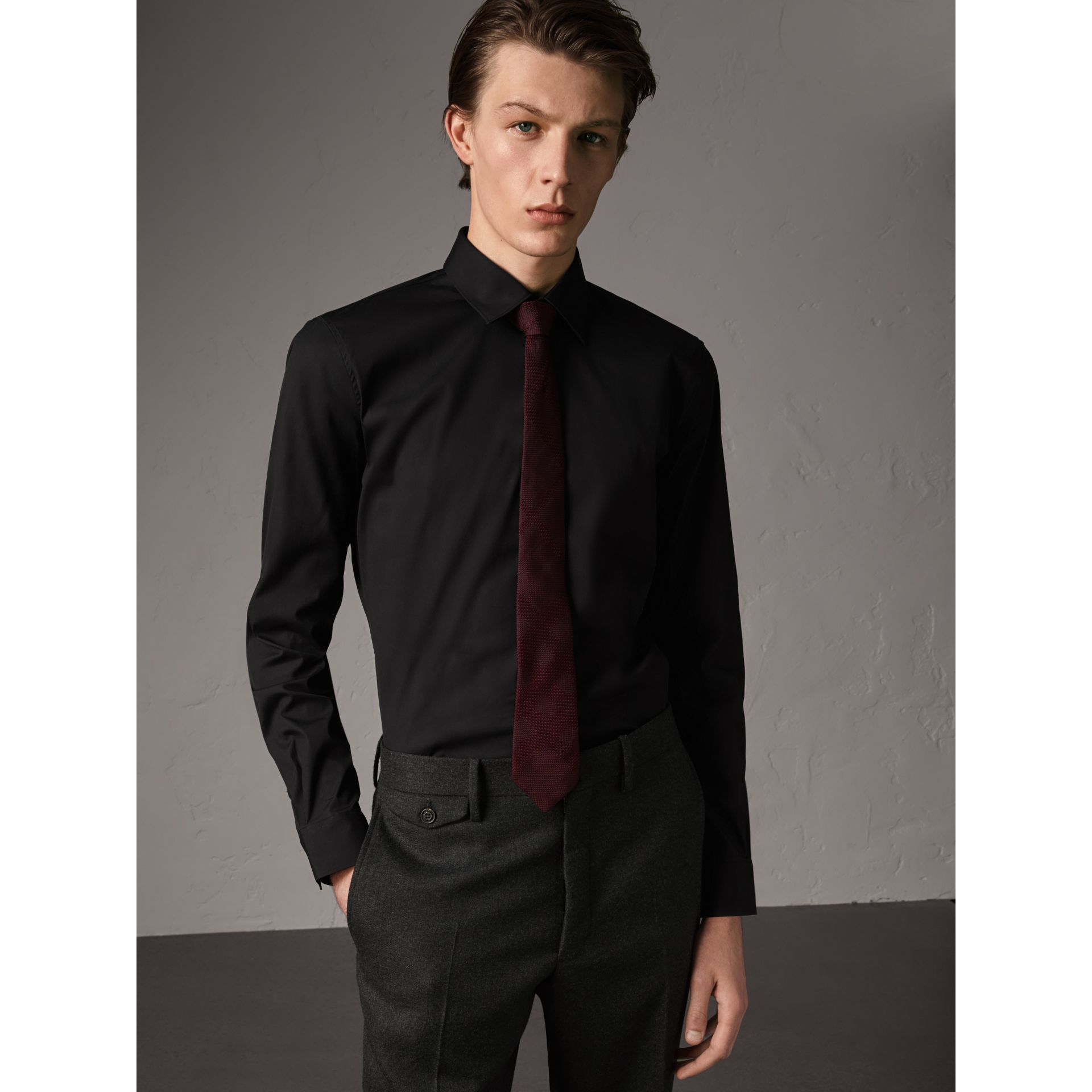 Slim Fit Stretch Cotton Shirt in Black - Men | Burberry United Kingdom - gallery image 1