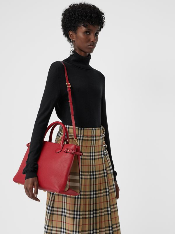 The Medium Banner aus Leder und House Check-Gewebe (Rostrot) - Damen | Burberry - cell image 3