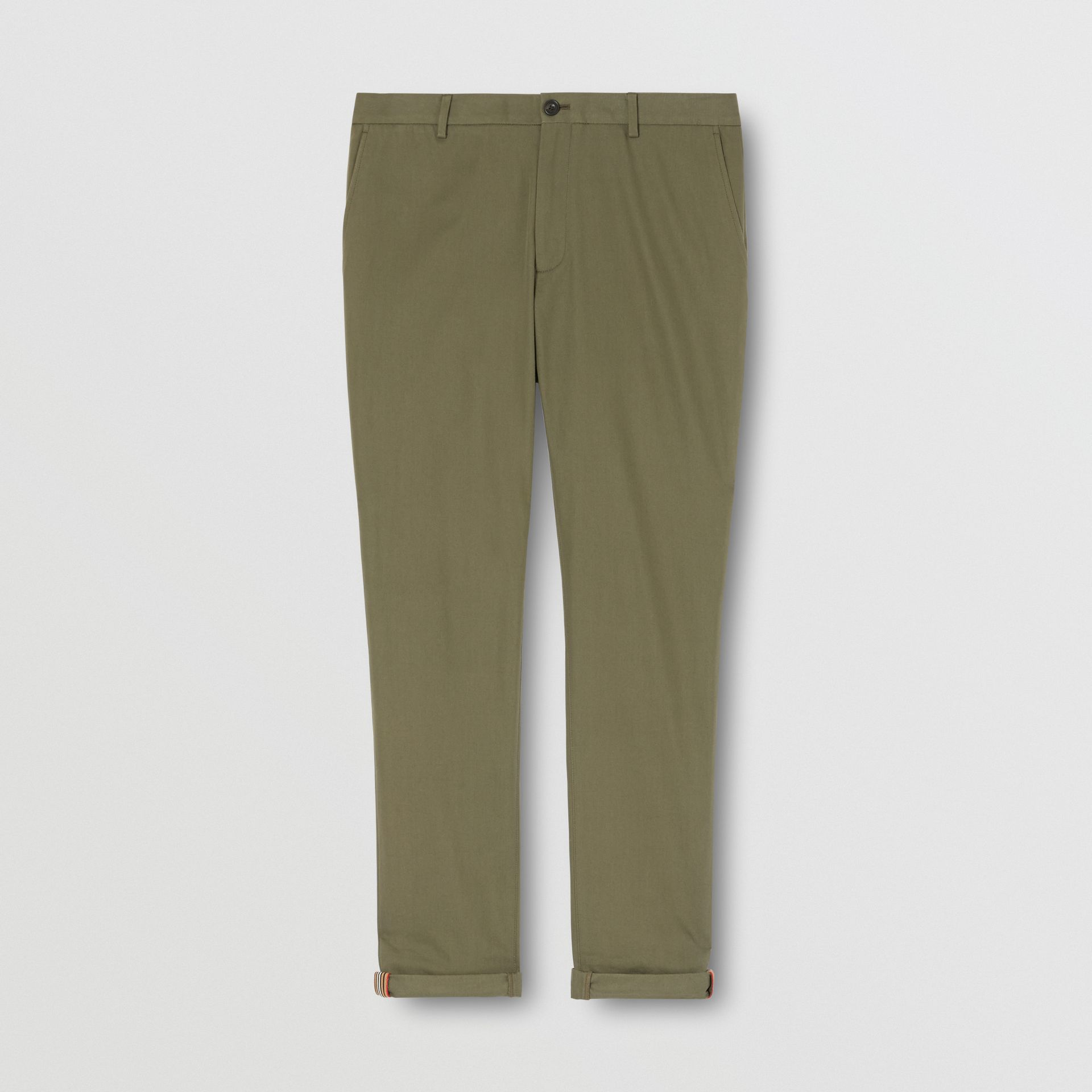 Slim Fit Cotton Chinos in Olive - Men | Burberry - gallery image 3