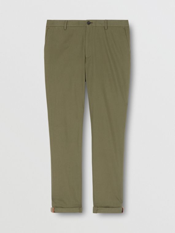 Slim Fit Cotton Chinos in Olive