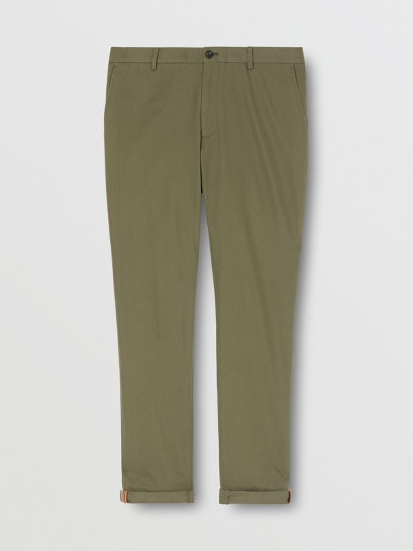 Slim Fit Cotton Chinos in Olive - Men | Burberry - cell image 3
