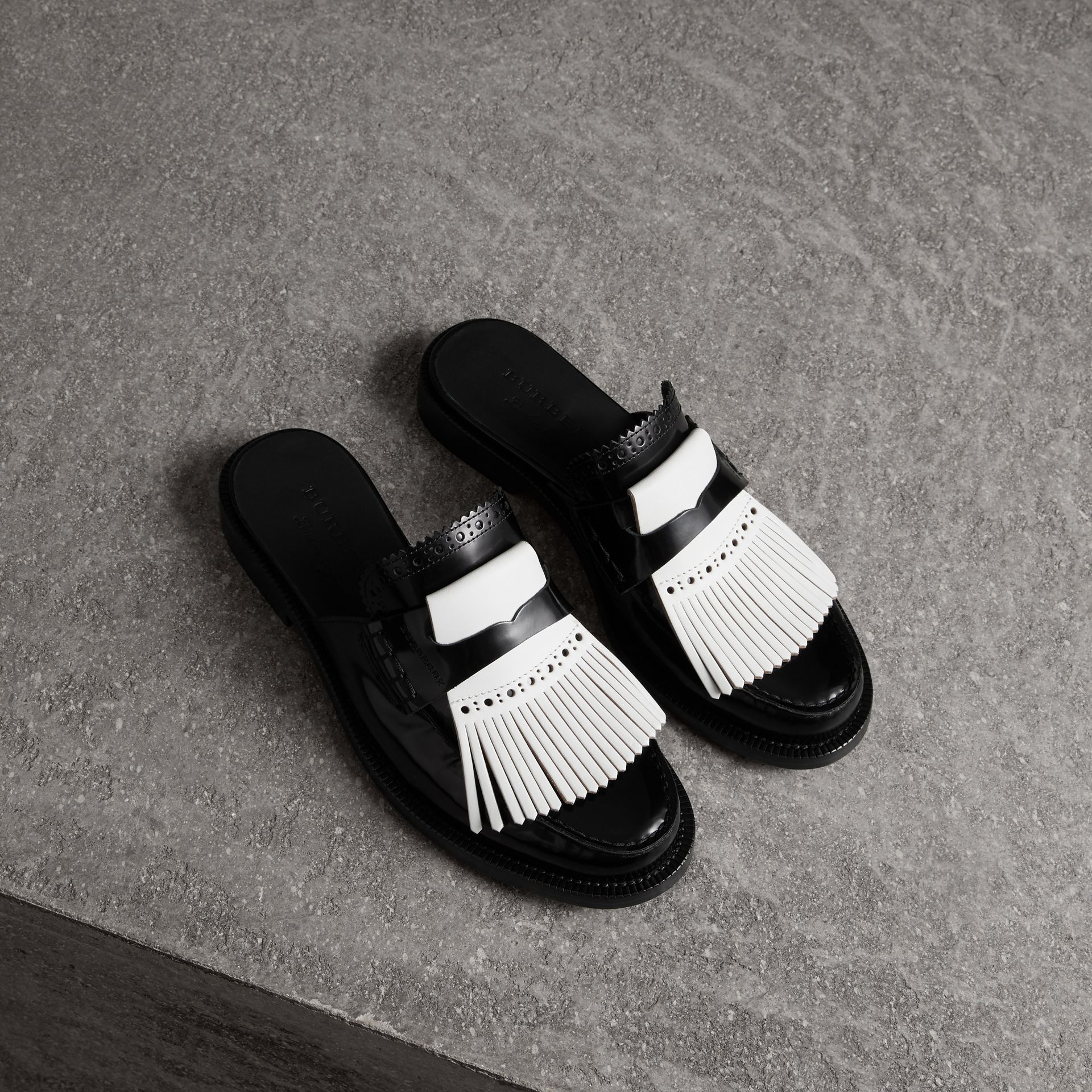 Contrast Kiltie Fringe Leather Mules in Black - Women | Burberry Australia - gallery image 0