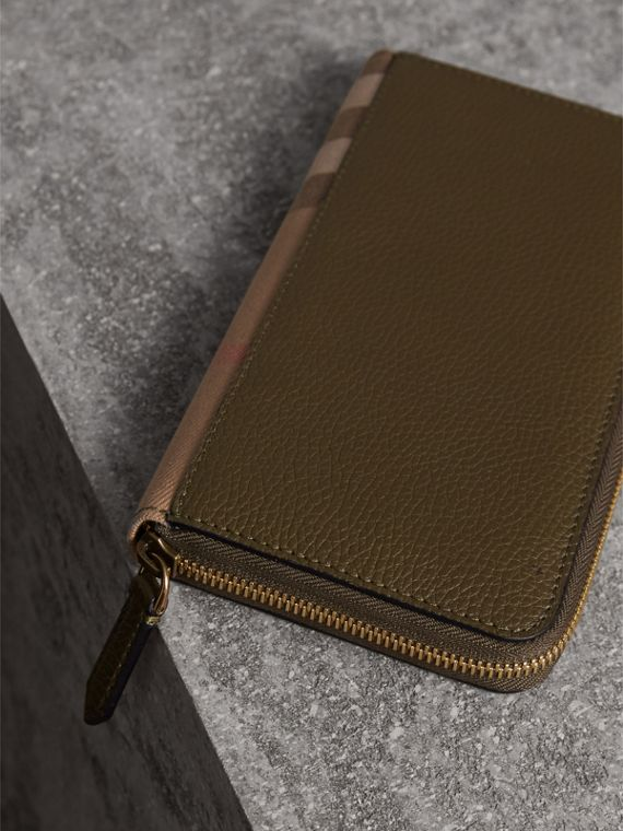 House Check and Grainy Leather Ziparound Wallet in Sage - Men | Burberry - cell image 2