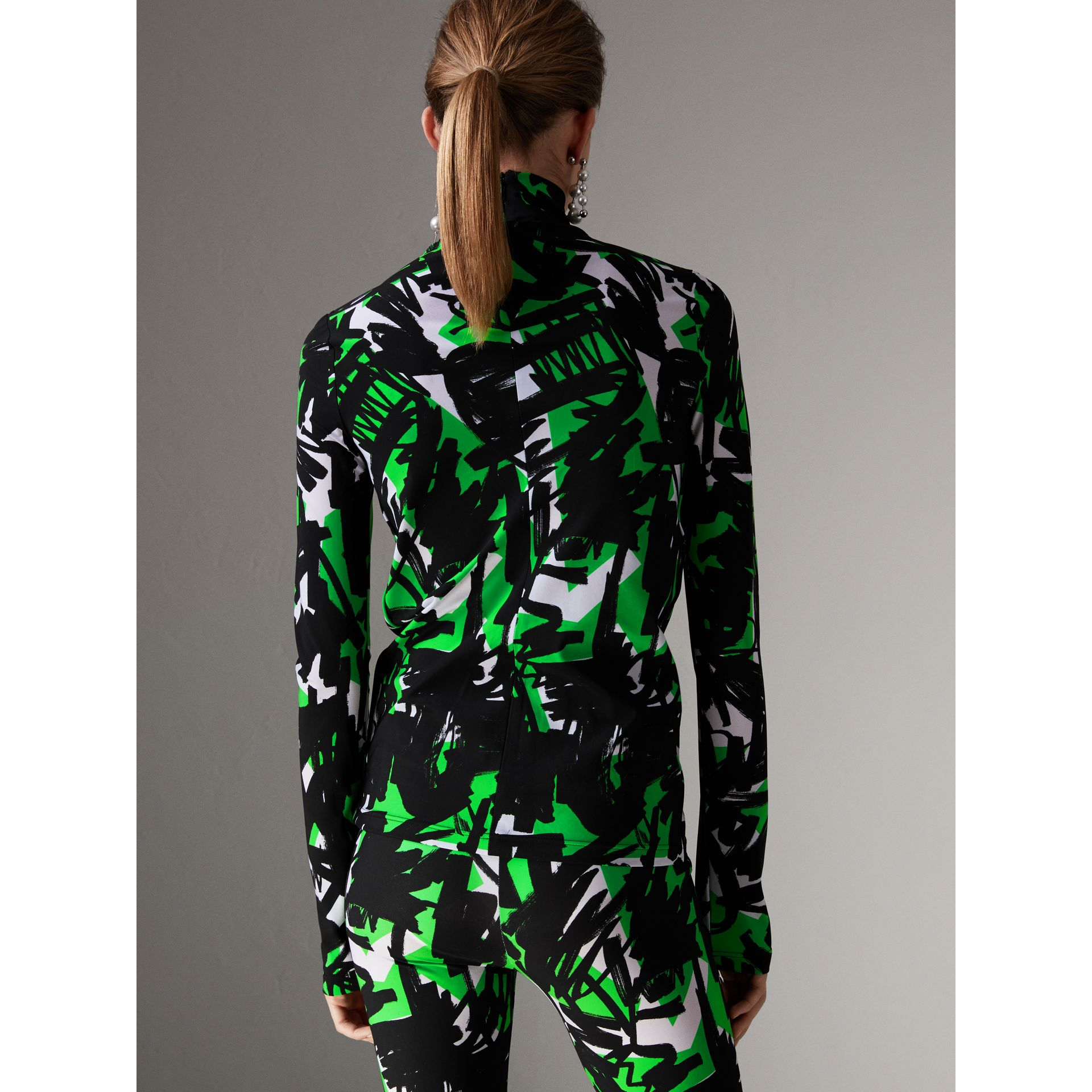 Graffiti Print Stretch Jersey Top in Neon Green - Women | Burberry - gallery image 2