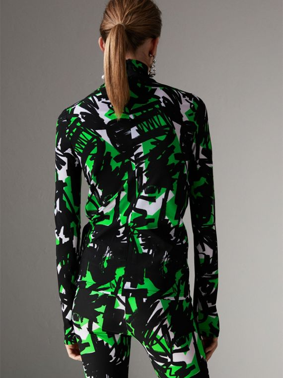 Graffiti Print Stretch Jersey Top in Neon Green - Women | Burberry - cell image 2