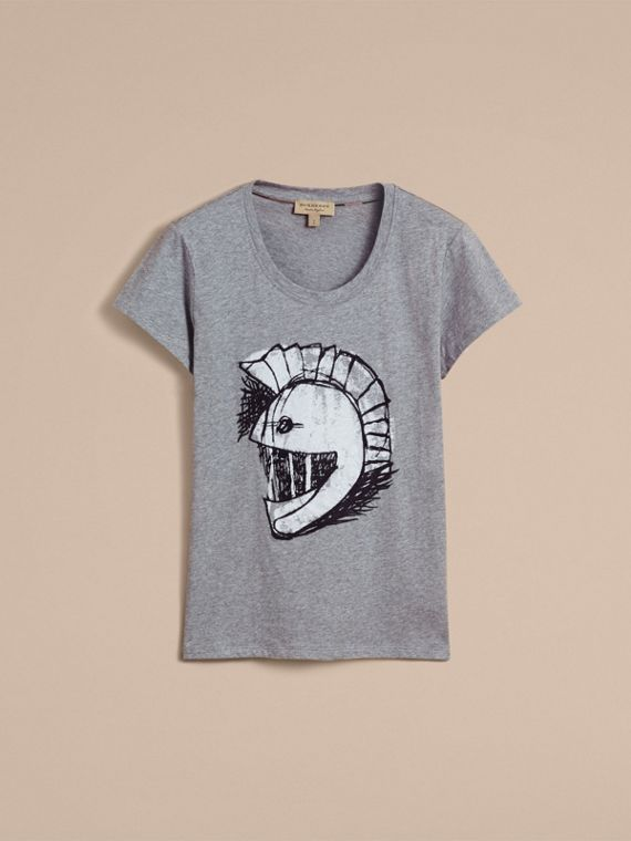 Pallas Helmet Motif Cotton T-shirt - Women | Burberry - cell image 3