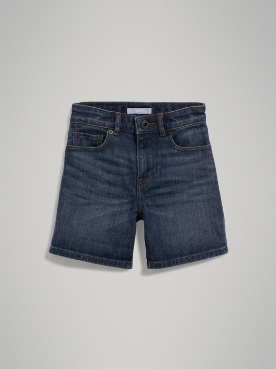 Relaxed Fit Stretch Denim Shorts in Mid Indigo - Boy | Burberry - cell image 2