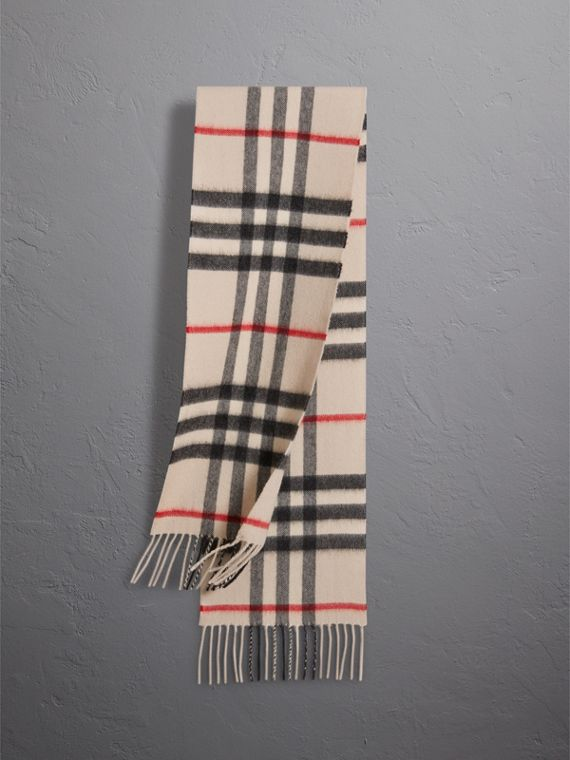 The Mini Classic Check Cashmere Scarf in Stone