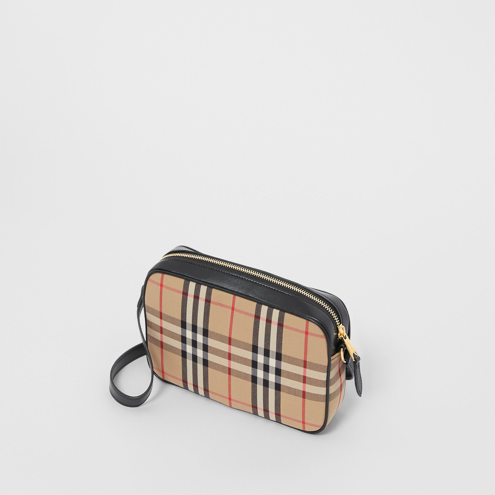 Small Vintage Check and Leather Camera Bag in Archive Beige - Women | Burberry - gallery image 3