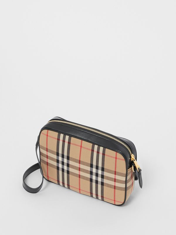 Small Vintage Check and Leather Camera Bag in Archive Beige - Women | Burberry - cell image 3