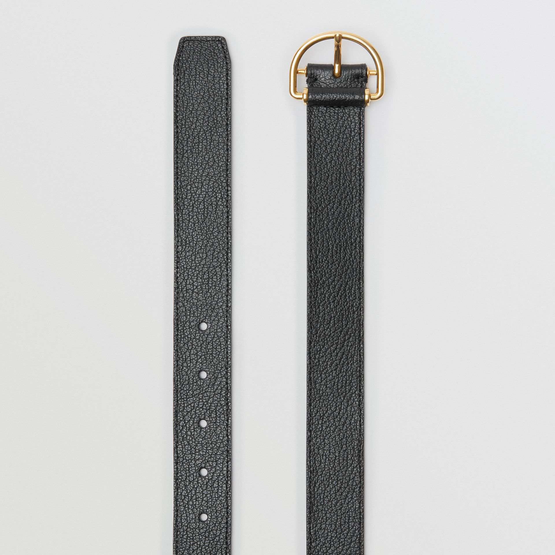 Grainy Leather D-ring Belt in Black/cornflower - Women | Burberry - gallery image 5