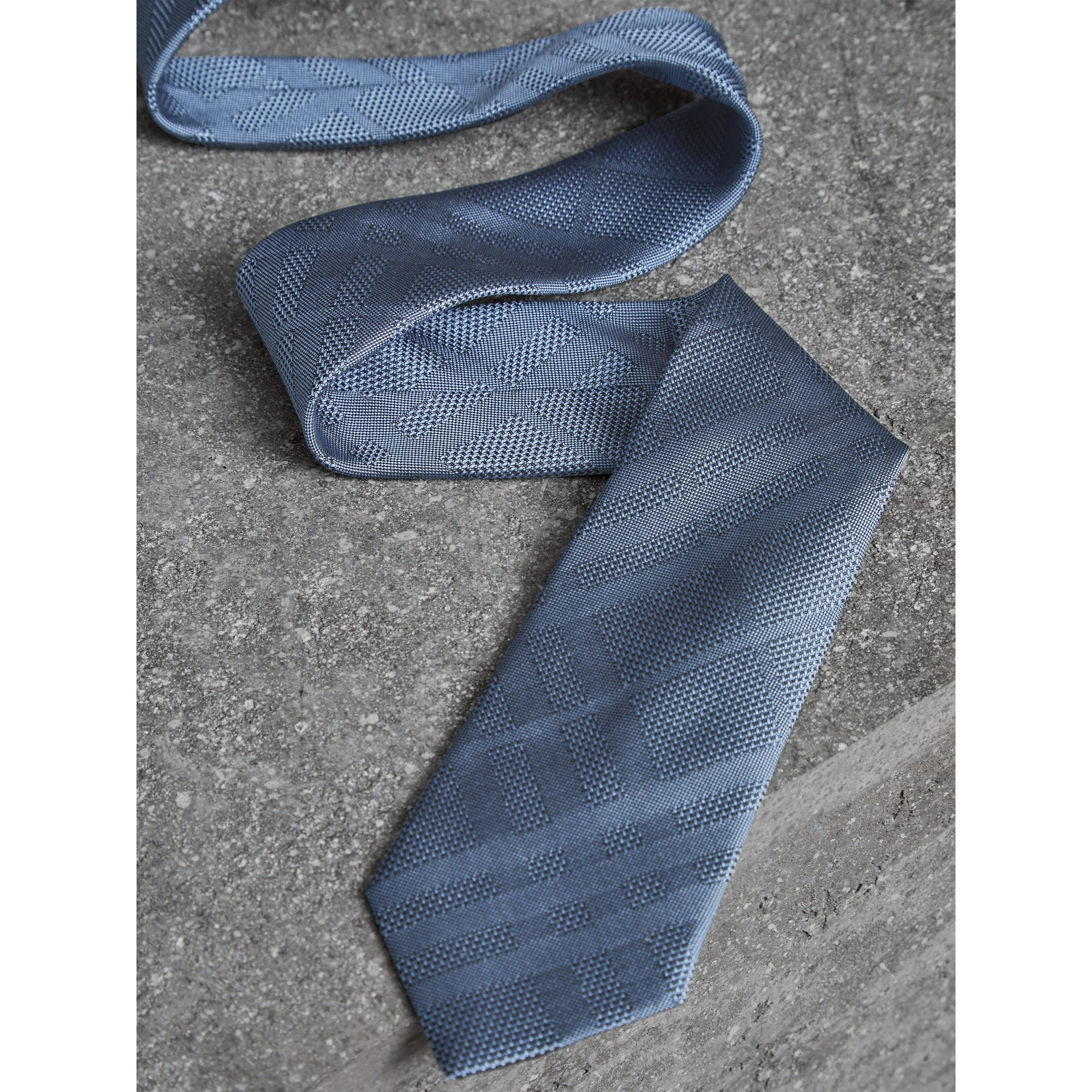 Modern Cut Check Silk Tie in Sky Blue - Men | Burberry - gallery image 1