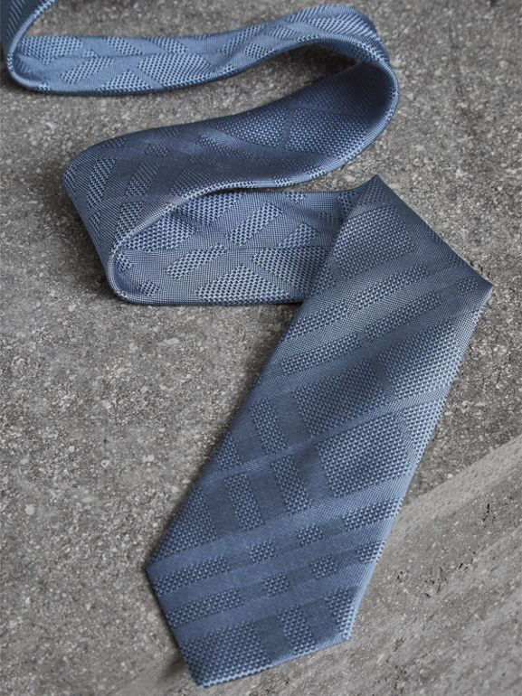 Modern Cut Check Silk Tie in Sky Blue - Men | Burberry - cell image 1