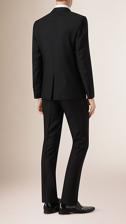 Black Slim Fit Wool Mohair Half-canvas Tuxedo - Image 2