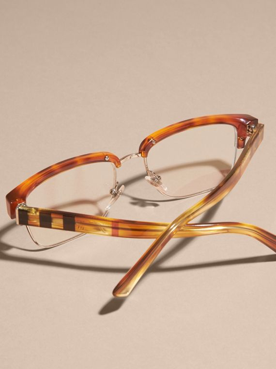 Half-rimmed Oval Optical Frames Light Russet Brown - cell image 3