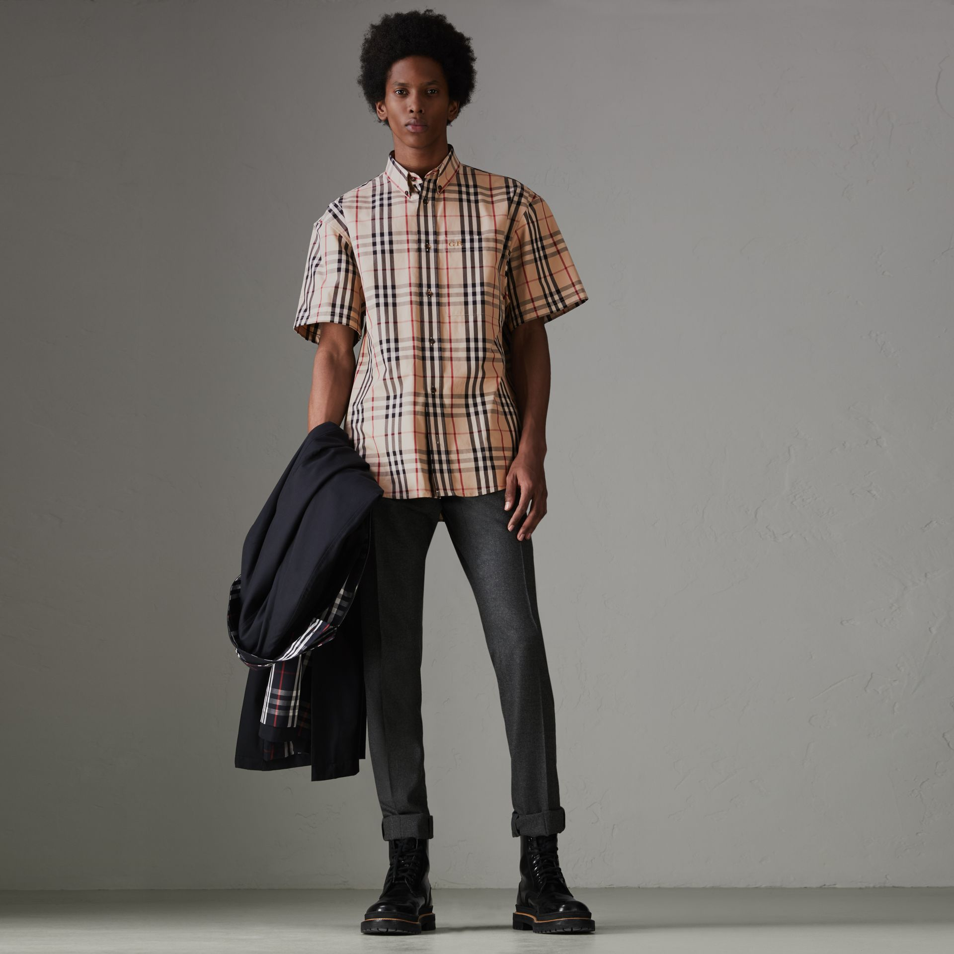 Gosha x Burberry Short-sleeve Check Shirt in Honey | Burberry Singapore - gallery image 6