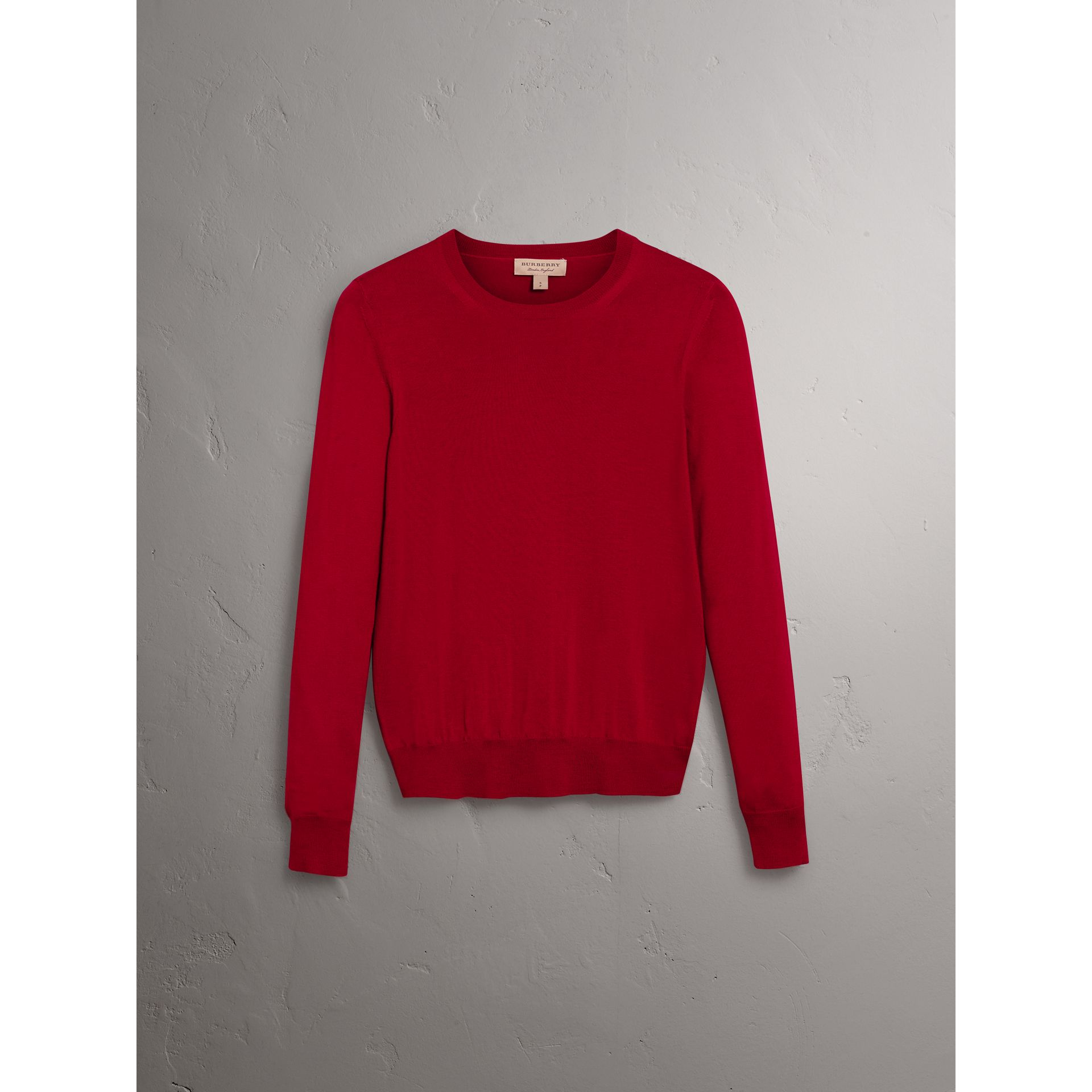 Check Detail Merino Wool Sweater in Parade Red - Women | Burberry - gallery image 3