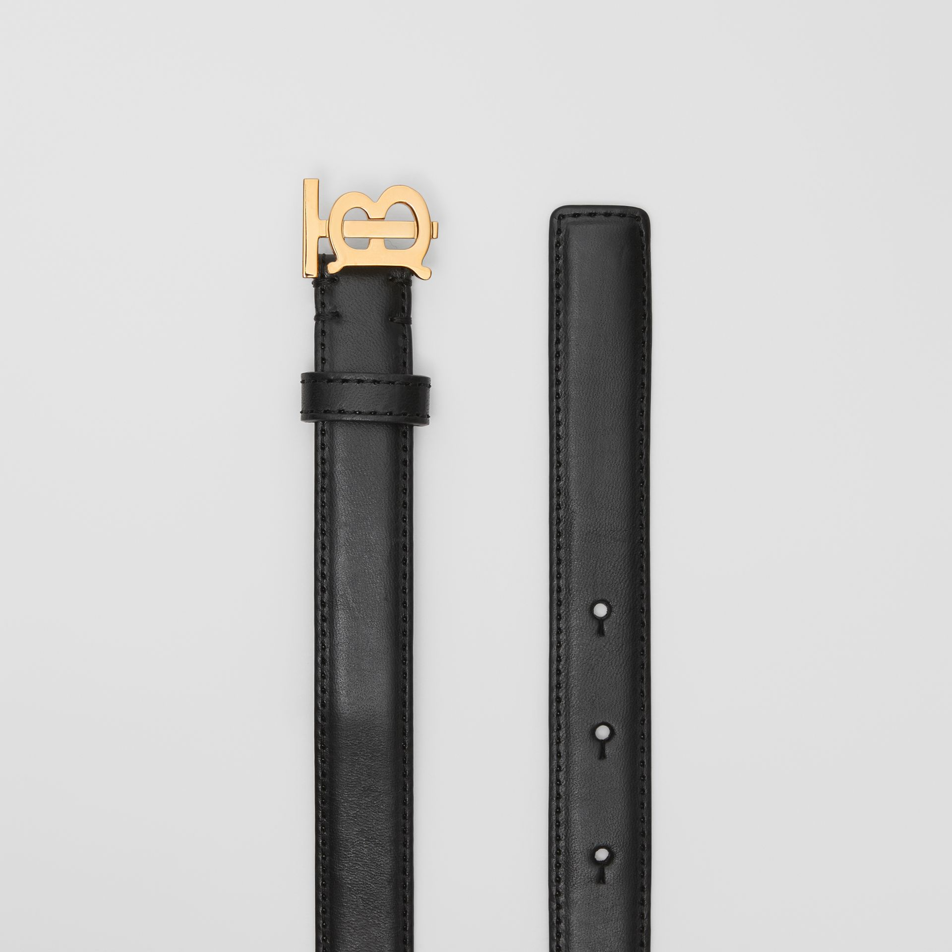 Monogram Motif Leather Belt in Black/light Gold - Women | Burberry United Kingdom - gallery image 4