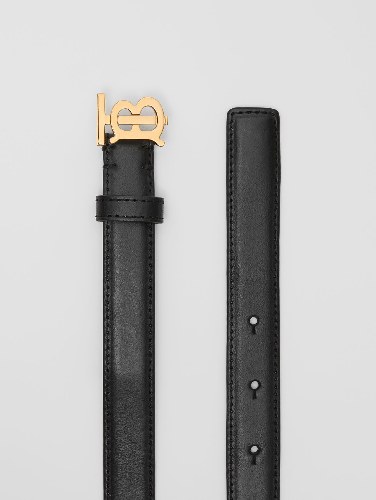 Monogram Motif Leather Belt in Black/light Gold