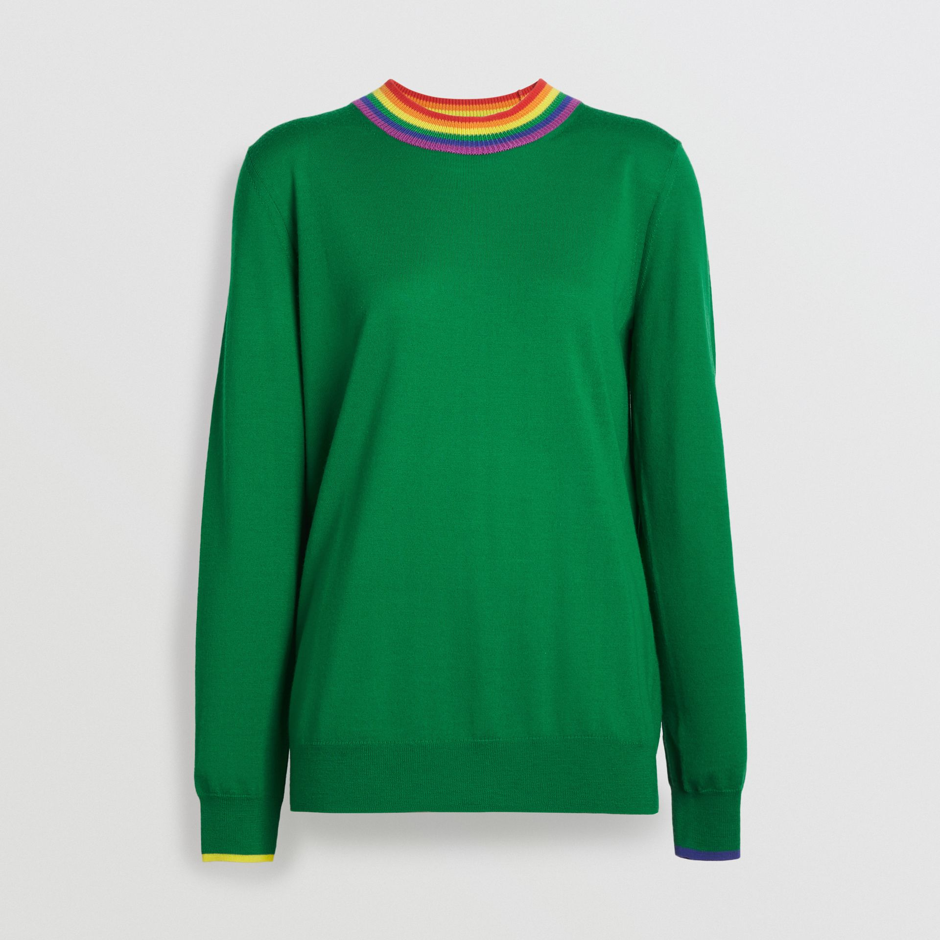 Stripe Detail Wool Sweater in Bright Green - Women | Burberry - gallery image 3