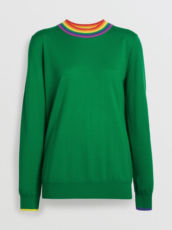 Stripe Detail Wool Sweater in Bright Green - Women | Burberry Hong Kong - cell image 3