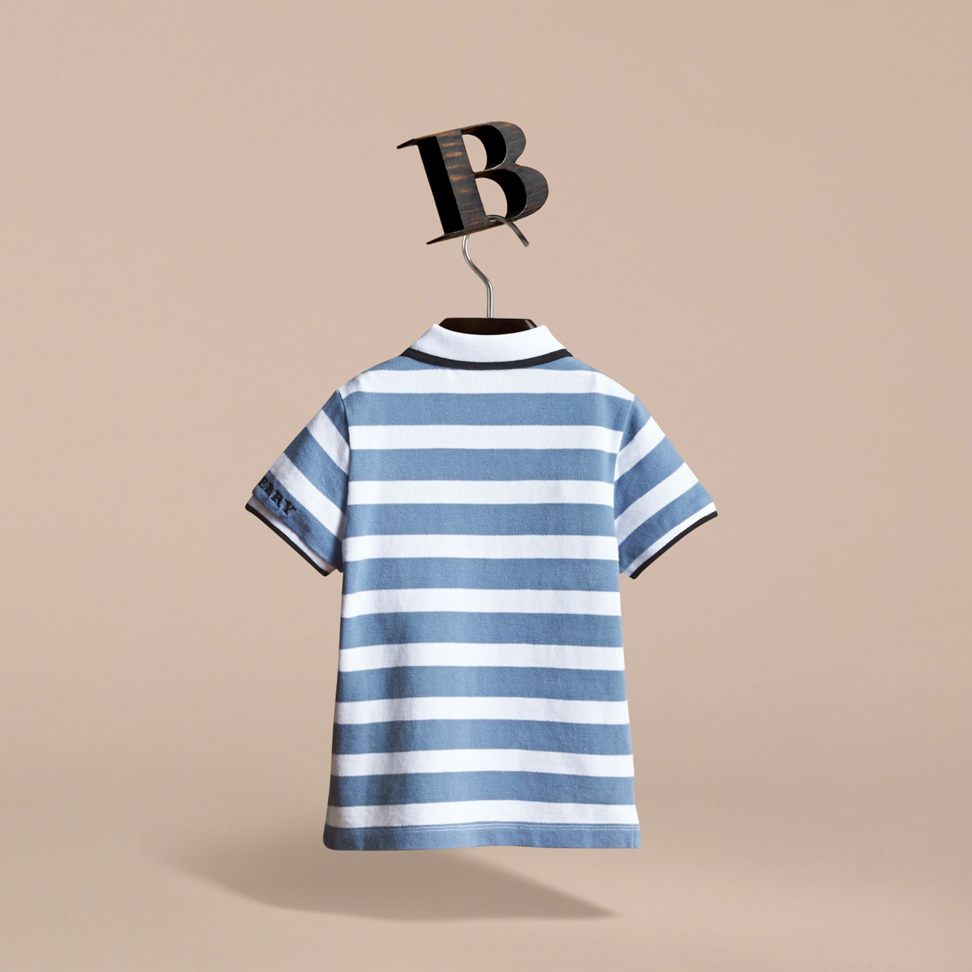 Striped Cotton Polo Shirt in Slate Blue - Children | Burberry - gallery image 4