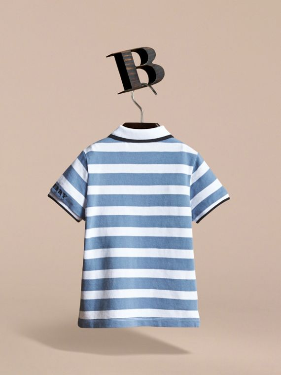 Striped Cotton Polo Shirt in Slate Blue - Children | Burberry - cell image 3