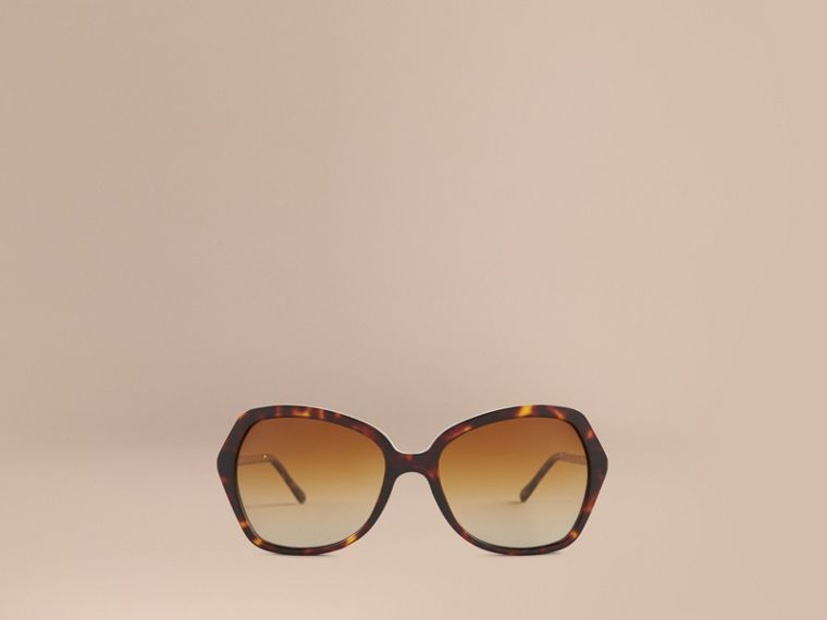 Tortoiseshell Gabardine Collection Oversize Square Frame Sunglasses Tortoiseshell - cell image 1