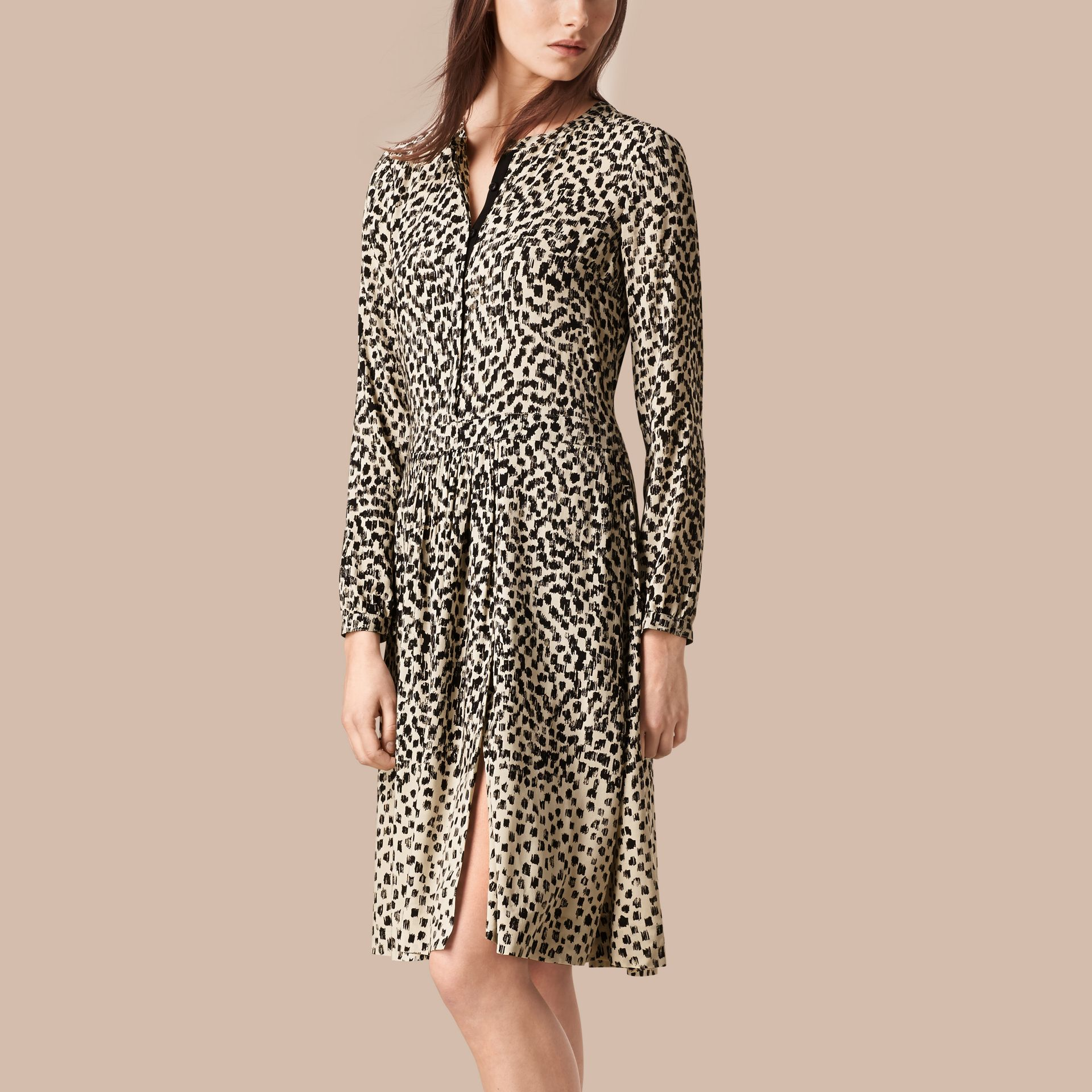Stone Dash Print Shirt Dress Stone - gallery image 1