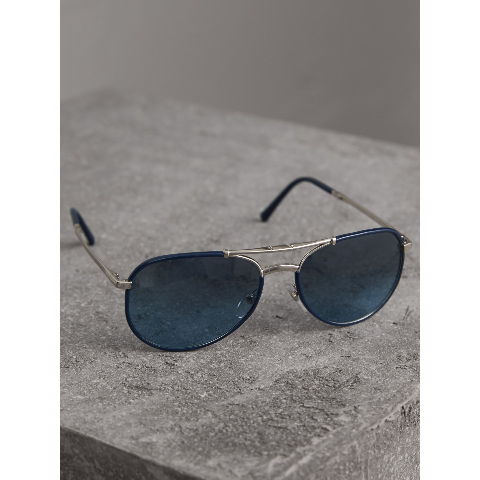 Folding Pilot Sunglasses in Navy - Men | Burberry Australia - gallery image 1