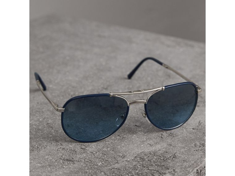 Folding Pilot Sunglasses in Navy - Men | Burberry - cell image 1