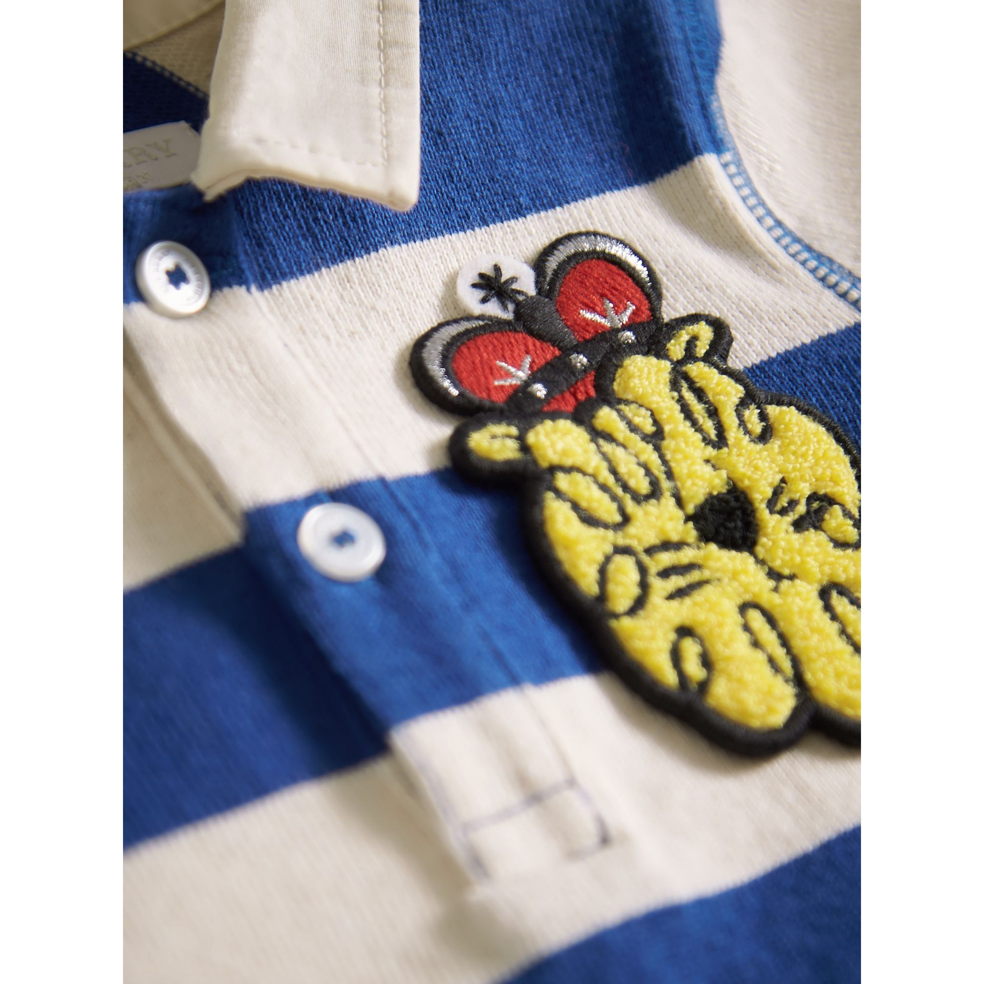 London Icons Motif Cotton Rugby Shirt in Cobalt Blue/natural White | Burberry - gallery image 1