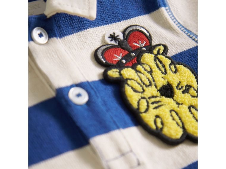 London Icons Motif Cotton Rugby Shirt in Cobalt Blue/natural White | Burberry - cell image 1